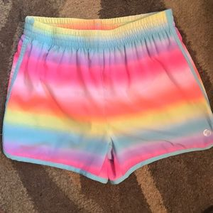 A pair of neon rainbow colored shorts